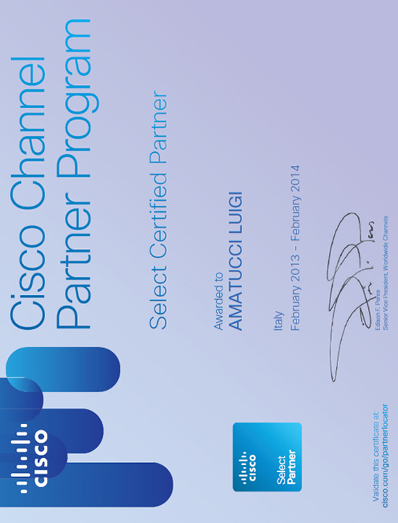 Certificato Cisco Select Partner